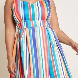 Modcloth- A-Line Dress in Stripes 2x